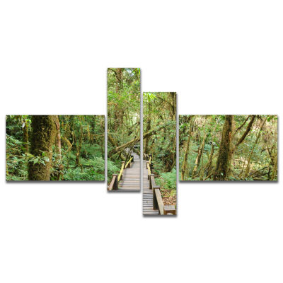 Designart Walk Way In Deep Forest Multipanel Landscape Photo Canvas Art Print - 4 Panels