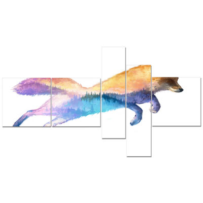 Designart Fox Double Exposure Illustration Multipanel Large Animal Canvas Art Print - 5 Panels
