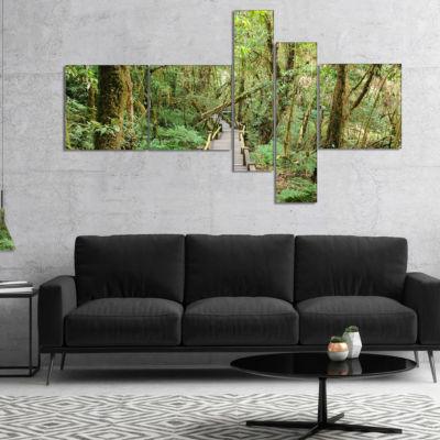 Design Art Walk Way In Deep Forest Multipanel Landscape Photo Canvas Art Print - 5 Panels