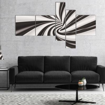 Designart Fractal 3D Black N White Tunnel Multipanel Abstract Canvas Art Print - 4 Panels