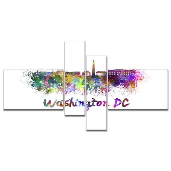 Designart Washington Dc Skyline Multipanel Cityscape Canvas Artwork Print - 4 Panels