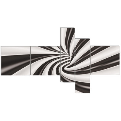 Designart Fractal 3D Black N White Tunnel Multipanel Abstract Canvas Art Print - 5 Panels