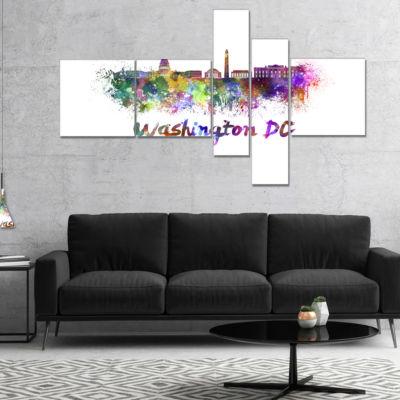 Designart Washington Dc Skyline Multipanel Cityscape Canvas Artwork Print - 5 Panels