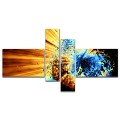 Designart Fractal 3D Blue Brown Burst Multipanel Abstract Canvas Art Print - 4 Panels