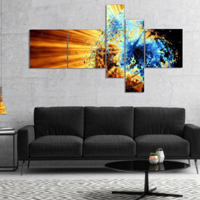 Designart Fractal 3D Blue Brown Burst Multipanel Abstract Canvas Art Print - 5 Panels
