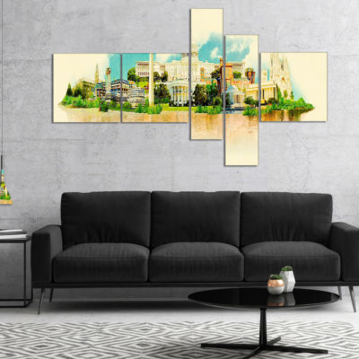 Designart Washington Panoramic View Multipanel Cityscape Watercolor Canvas Print - 5 Panels