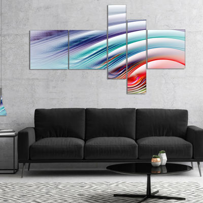 Designart Water Ripples Rainbow Waves Multipanel Abstract Canvas Art Print - 4 Panels