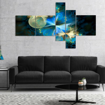 Designart Fractal 3D Blue Bubbles Multipanel Abstract Canvas Art Print - 5 Panels