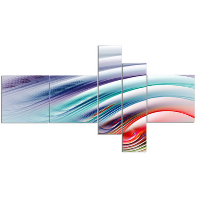 Designart Water Ripples Rainbow Waves Multipanel Abstract Canvas Art Print - 5 Panels