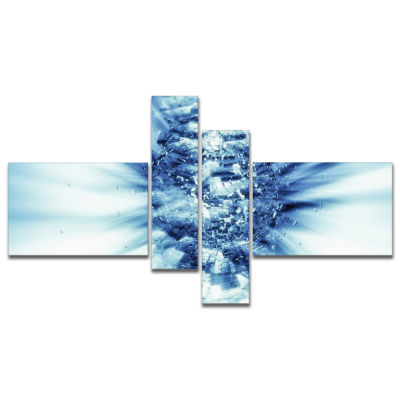 Designart Fractal 3D Blue Splash Burst MultipanelAbstract Canvas Art Print - 4 Panels