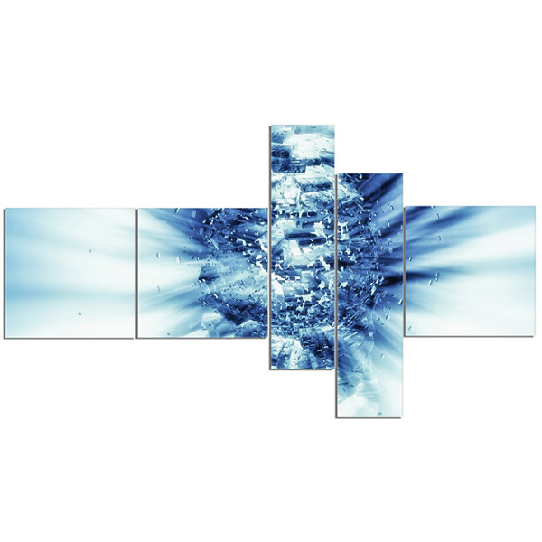 Designart Fractal 3D Blue Splash Burst MultipanelAbstract Canvas Art Print - 5 Panels