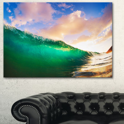 Designart Waves Under Cloudy Sky Seascape Canvas Art Print - 3 Panels