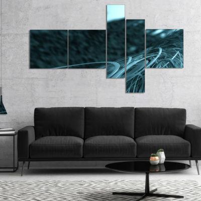 Designart Fractal 3D Bottom Stripes Multipanel Abstract Canvas Art Print - 4 Panels