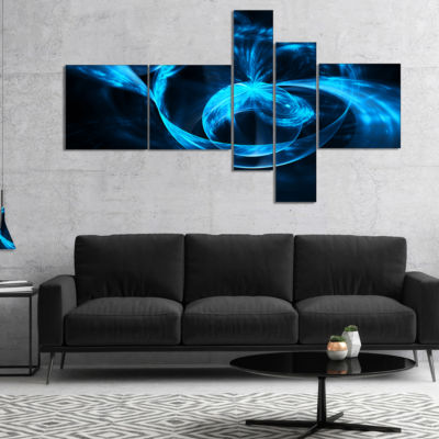 Designart Fractal 3D Circled Blue Waves MultipanelAbstract Canvas Art Print - 4 Panels