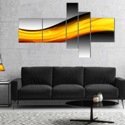 Designart Wave Of Golden Lava Multipanel AbstractCanvaS Art Print - 4 Panels