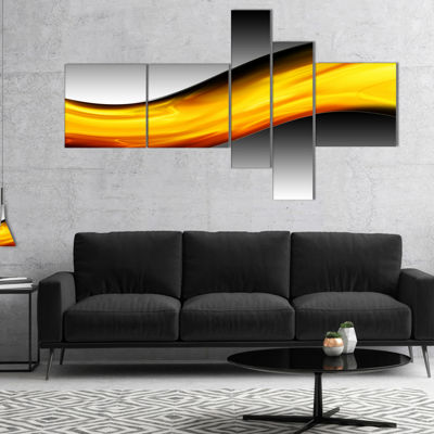 Designart Wave Of Golden Lava Multipanel AbstractCanvaS Art Print - 5 Panels