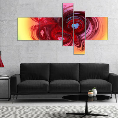 Design Art Waves Around The Hearts Multipanel Abstract Canvas Art Print - 4 Panels