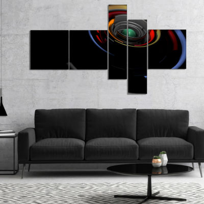 Designart Fractal 3D Circled Stripes Multipanel Abstract Canvas Art Print - 5 Panels