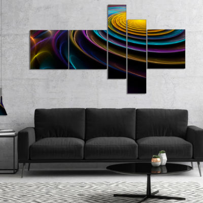 Designart Fractal 3D Colored Bulgy Circles Multipanel Blue Multipanel Abstract Canvas Art Print - 5Panels