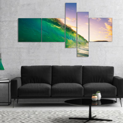 Designart Waves Kissing Clouds Multipanel SeascapeCanvas Art Print - 4 Panels
