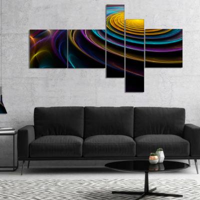 Design Art Fractal 3D Colored Bulgy Circles Multipanel Contemporary Canvas Art Print - 4 Panels