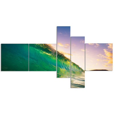 Designart Waves Kissing Clouds Multipanel SeascapeCanvas Art Print - 5 Panels