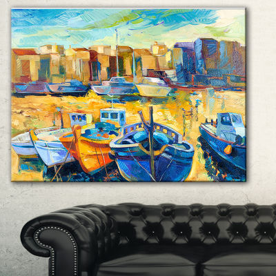 Designart Wharf And Boats Seascape Canvas Art Print - 3 Panels