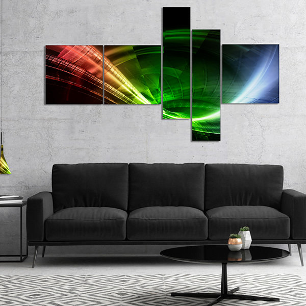 Designart Fractal 3D Colorful Tunnel Multipanel Abstract Canvas Art Print - 4 Panels