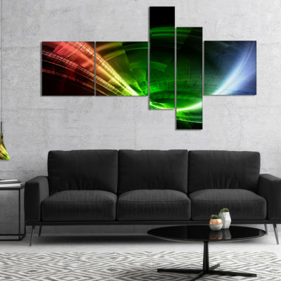 Designart Fractal 3D Colorful Tunnel Multipanel Abstract Canvas Art Print - 5 Panels