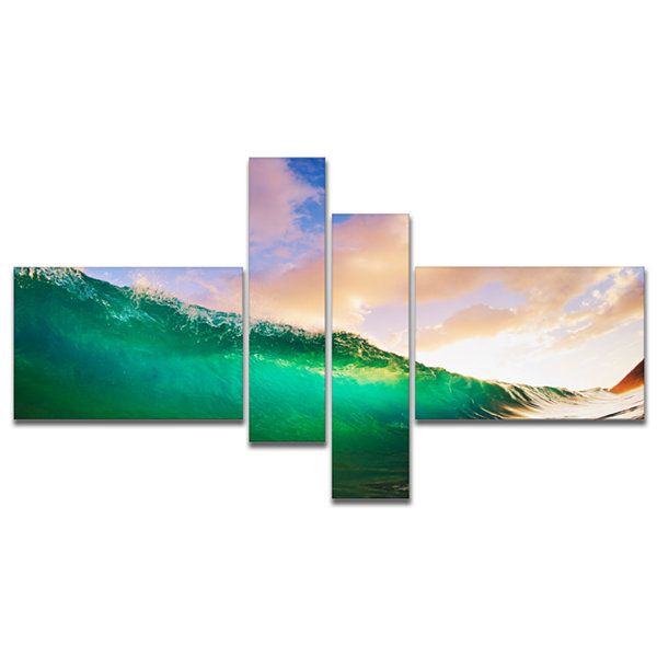 Designart Waves Under Cloudy Sky Multipanel Seascape Canvas Art Print - 4 Panels
