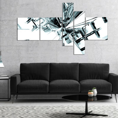 Designart Fractal 3D Cubes Everywhere Multipanel Abstract Canvas Art Print - 5 Panels