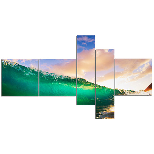 Designart Waves Under Cloudy Sky Multipanel Seascape Canvas Art Print - 5 Panels