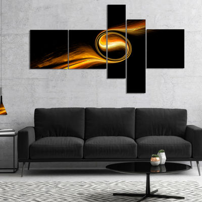 Designart Fractal 3D Dancing Yellow Design Multipanel Abstract Canvas Art Print - 4 Panels