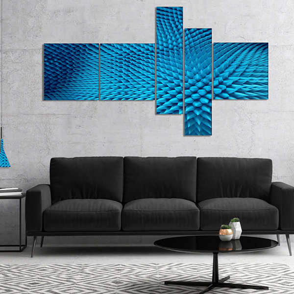 Designart Wavy Blue Prickly Design Multipanel Abstract Canvas Art Print - 4 Panels