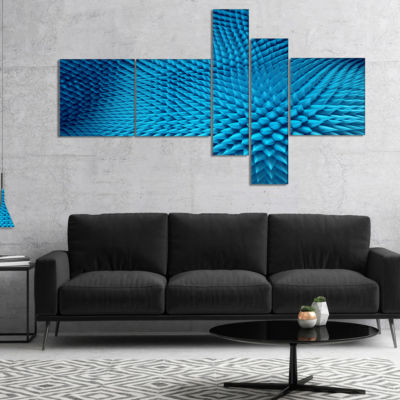 Designart Wavy Blue Prickly Design Multipanel Abstract Canvas Art Print - 5 Panels