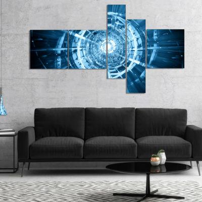 Designart Fractal 3D Deep Blue Spiral Multipanel Abstract Canvas Art Print - 4 Panels
