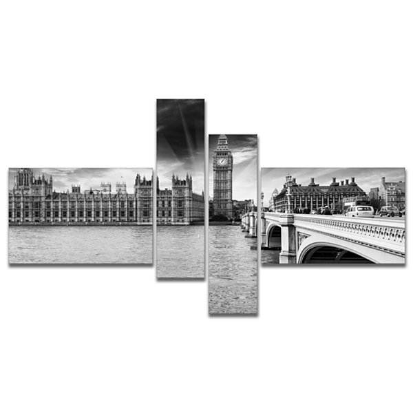 Designart Westminster Palace In Gray Shade Multipanel Photography Canvas Art Print - 4 Panels