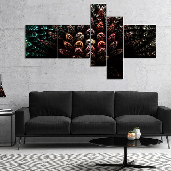 Designart Fractal 3D Flower Fantasy Multipanel Abstract Canvas Art Print - 5 Panels