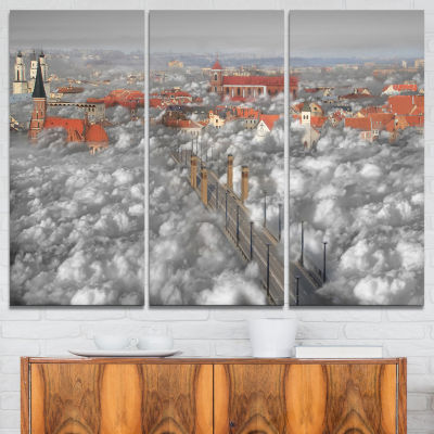 Designart When The Cloud Descends Abstract Print On Canvas - 3 Panels