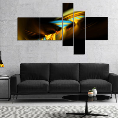 Designart Fractal 3D Layers Yellow Blue MultipanelAbstract Canvas Art Print - 5 Panels