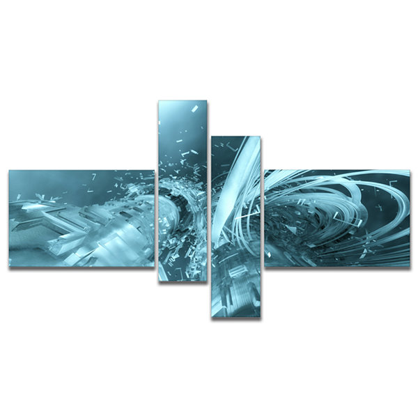 Designart Fractal 3D Light Blue Collision Multipanel Abstract Canvas Art Print - 4 Panels