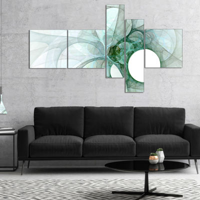 Designart White Fractal Angel Wings Multipanel Abstract Wall Art Canvas - 5 Panels