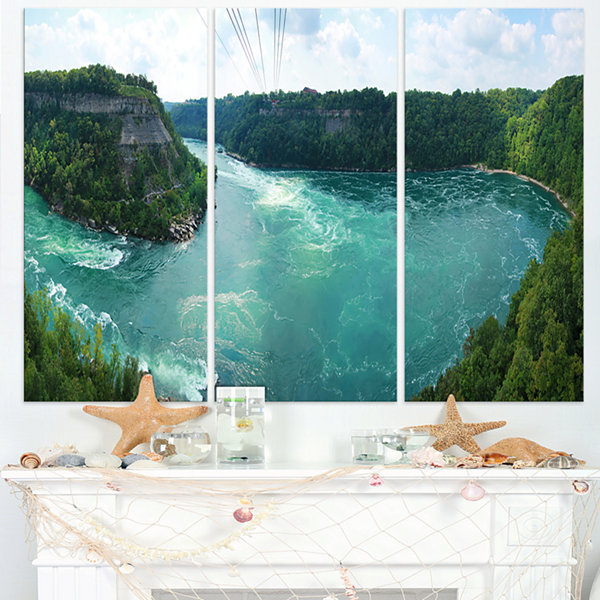 Designart Whirlpool Rapids Landscape Photography Canvas Print - 3 Panels
