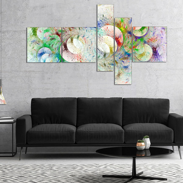 Designart White Fractal Ornamental Glass Multipanel Abstract Canvas Art Print - 4 Panels