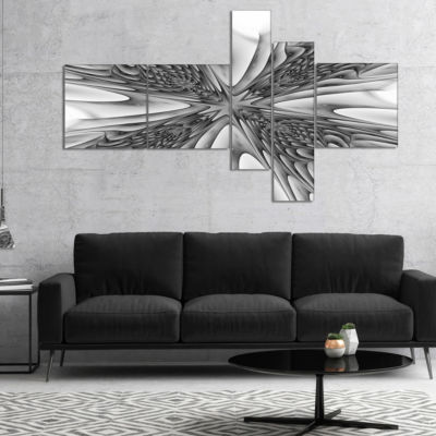 Designart Fractal 3D Magical Depth Multipanel Abstract Canvas Art Print - 5 Panels