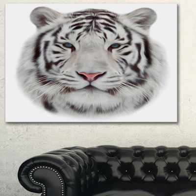 Designart White Bengal Tiger Animal Art On Canvas