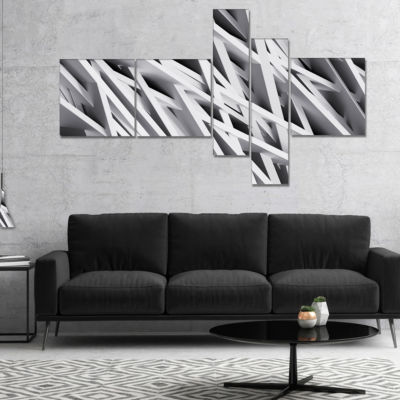 Designart White Geometric Multipanel Abstract Canvas Art Print - 4 Panels