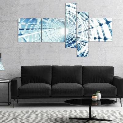 Designart Fractal 3D Network Spiral Multipanel Abstract Canvas Art Print - 5 Panels