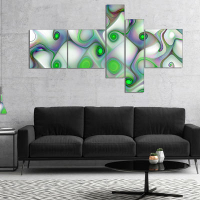 Designart White Green Pattern With Swirls Multipanel Abstract Wall Art Canvas - 4 Panels