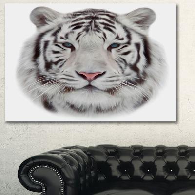 Designart White Bengal Tiger Animal Art On Canvas-3 Panels